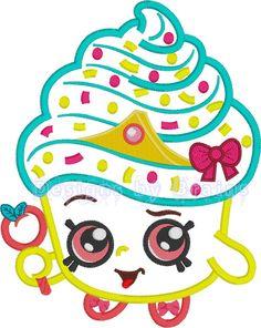 Shopkins Cupcake Queen machine embroidery design