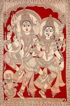 Mysore Painting, Kalamkari Painting, Kerala Mural Painting, Indian Art Paintings, Silk Painting, Madhubani Art, Madhubani Painting, Arte Krishna, Fabric Painting On Clothes