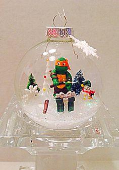 Mutant ninja turtle ornament, ninja turtle made out of polymer clay