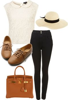 Eleanor Calder inspired outfit for a river cruise by eleanorcalder-style featuring low heelsLace shell top / High waisted black skinny jeans / Low heels / Hermès gold handbag / ASOS wide brim straw hat