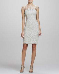 Tweed Sheath Dress by Kay Unger New York at Neiman Marcus.