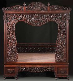 CHINESE WEDDING BEDS   574: A CHINESE CARVED HARDWOOD WEDDING/CANOPY BED : Lot 574