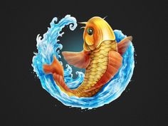 Koi Fish : Wild Symbol by PyroHyper Fish Design, Game Design, Icon Design, Game Concept, Concept Art, Fish Gif, Diorama, Fish Information, Game Effect