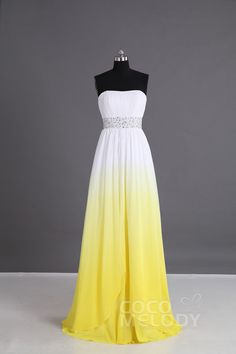 Eye-Catching+Sheath-Column+Sweetheart+Natural+Floor+Length+Chiffon+Grandient+Yellow+Sleeveless+Lace+Up-Corset+Bridesmaid+Dress+Beading+Pleating+PR2921