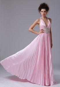 Low Price Empire Halter Empire Pink Prom Outfits with Floor-length in Taffeta