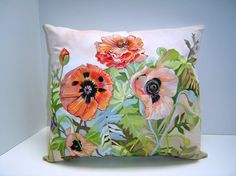 The Lovely Poppies - 15X17 - Hand Painted - 15X17 - Garden Scene - Art Pillow Home Decor