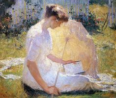 Frank W. Benson~ The Reader. It's so pretty how the light hits the umbrella