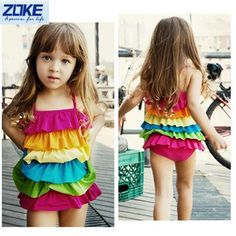 7211ad81b4 Children Kids Baby Girl Rainbow Colorful One Piece Swimwear Swimsuit Dress  Bikini Swimming Summer Beach Bathing Suits menina-in Children s One-Piece  Suits ...