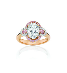 Isabella - Vibrant White and rare Argyle Pink Diamonds delicately enhance a dazzling 1.54ct D-Colour brilliant cut oval diamond. A spectacular statement of luxury and adornment. www.calleija.com.au/white-diamond-collection-rings/~r1392-isabella