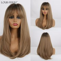 Long Ash Hair Wigs With Bangs - lc260-1