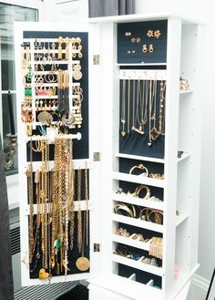 Storage Jewelry The Coveteur - closets - luxurious closet, jewelry cabinet, lined jewlery cabinet, Lori Levine - Luxurious walk-in closet featuring jewelry Jewelry Organizer Drawer, Jewelry Drawer, Jewelry Cabinet, Jewelry Armoire, Jewellery Storage, Jewelry Box, Jewelry Stand, Jewelry Holder, Jewlery