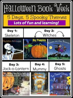 Halloween Book Week.  Ideas for reading, writing, math, science, games, and themed snacks to go along with favorite children's halloween books.