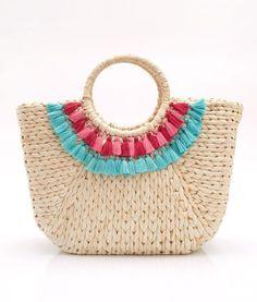 Beach Basket Fringe Tassel Pom Pom Indigo | Beach basket, Indigo ...