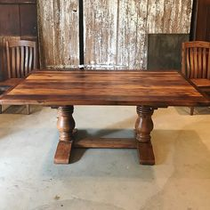 We love this table by Furniture From The Barn! It is reclaimed chestnut finished with Waterlox.