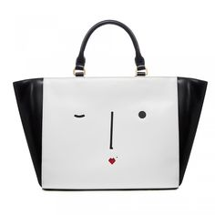 New Face Cesca Tote: The chic Cesca Tote, a brand new shape for Spring Summer'15, features Lulu's perforated New Face motif. Crafted from polished calf leather and complete with detachable cross body strap, wear it handheld, over the shoulder or cross body - the options are endless!  - Visit Lulu Guinness at http://www.luluguinness.com/