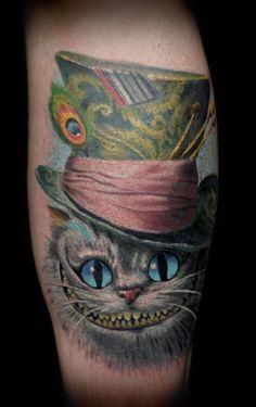 Alice in Wonderland Cheshire Cat tattoo Cat Portrait Tattoos, Body Art Tattoos, Sleeve Tattoos, Cool Tattoos, Cheshire Cat Tattoo, Chesire Cat, Disney Tattoos, Tatto Alice, Mad Hatter Tattoo