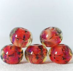 Borosilicate lampwork glass beads  Frozen rosa