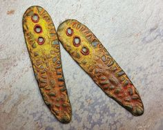 Polymer clay long drop beads with natural by atLoganSquare on Etsy