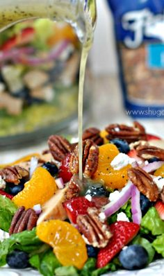 Strawberry Pecan Salad with a sweet, homemade Lemon Poppyseed Dressing