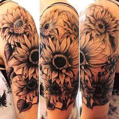 Tattoos have been and are still a big part of many to this day, and many people have one or more tattoos on their bodies. Many different cultures embrace tattoos, and they can bear many different m… Piercing Tattoo, 4 Tattoo, Cover Tattoo, Back Tattoo, Piercings, Tattoo Quotes, Sunflower Tattoo Sleeve, Sunflower Tattoo Shoulder, Sunflower Tattoos