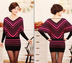 Free shipping fashion spring autumn plus size loose batwing long sleeve striped knited one-piece dress sweater for women  Price    US $ 25.20