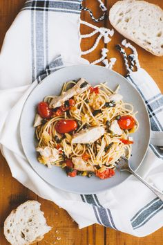 Recipe for Spaghettini with Chicken, Preserved Lemons, Cherry Tomatoes, Fresh Basil and Crispy Capers