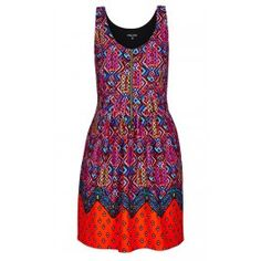 Add more than a dash of colour to your wardrobe with our Zip Front Tribal Print Dress. This fun dress is sure to get you noticed with it's zip through front fastening, loud print, darted bust and tank style shoulder straps