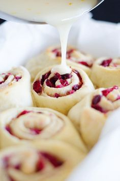 Make these vegan Cranberry Orange Sweet Rolls for brunch this weekend! With no complicated steps, they're your easy, tasty breakfast solution. Orange Cinnamon Rolls, Orange Sweet Rolls, Icing Ingredients, Rolls Recipe, Dessert Recipes, Desserts, Sweet Bread, Coffee Cake, Food Porn