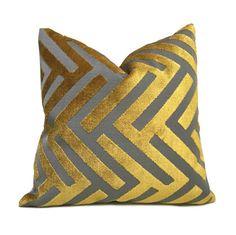 Turmeric Gold Gray Geometric Chevron Zig Zag Cut Velvet by Aloriam