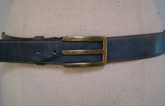 Vintage 1970s Lejon Blue Leather Belt, via Etsy.