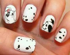 Disney Movie-Inspired nail art ideas and manicure designs. See more about polish art, disney movies and nail art ideas. Dog Nail Art, Dog Nails, Cute Nail Art, Cute Nails, Pretty Nails, Animal Nail Art, Nails For Kids, Fabulous Nails, Cute Nail Designs