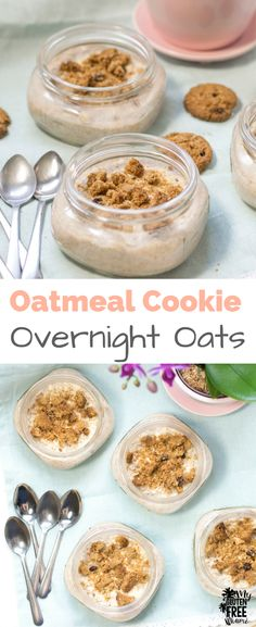 Oatmeal Cookie Overnight Oats are the perfect breakfast, with a hint of cinnamon and a cookie crunch, it's sure to become your go-to for busy mornings! via @GLUTENFREEMIAMI