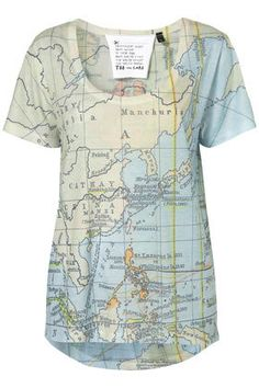 Map Print Tee By Tee And Cake - Jersey Tops - Clothing - Topshop