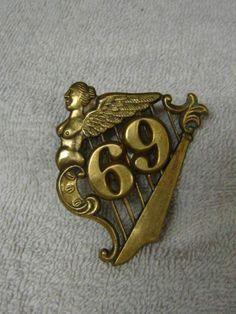 RARE Orig Civil War 69th NY Irish Brigade Harp Insignia  