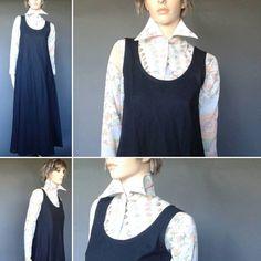 black linen dress, by vintage2049 on Etsy