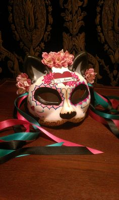 Mi Amor Gato Kitty Day of the Dead Cat Mask - Teal Pink and Red Roses Heart Scroll My Love - dia de los muerto Mask. $55.00, via Etsy.