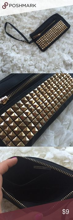 Gold Studded Wristlet Used but in good condition. Perfect to hold your items for a night out! Gold studs are slightly worn but not noticeable from far away.  Same day or next day shipping besides weekends and holidays!!  Charlotte Russe Bags Clutches & Wristlets