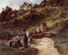 Near the Fountain - Léon Augustin Lhermitte - 	Date unknown Dimensions:	Unknown Medium:	Painting - oil on canvas