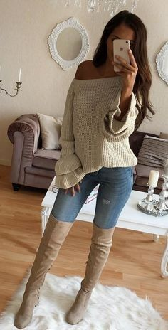 #winter #outfits gray off-shoulder long-sleeved top with blue denim bottoms with brown knee high-boot outfit