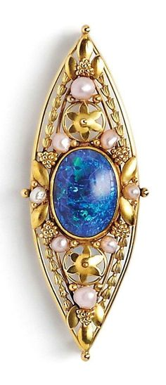 Art Nouveau 14kt Gold Brooch #GoldJewelleryArtNouveau #artdeco