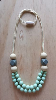 Silicone Necklace- Poppy in Mint by IndigoLaneDesign on Etsy https://www.etsy.com/listing/223055932/silicone-necklace-poppy-in-mint