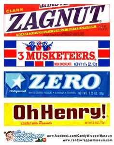 Classic candy from the 70s: Zagnut, 3 Musketeers, Zero, and Oh Henry!