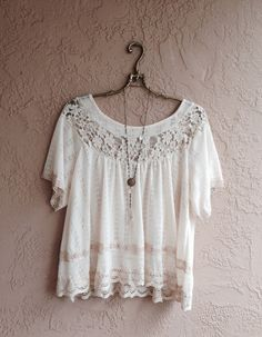 Romanric lace trim bohemian cotton sweater style by BohoAngels, $80.00