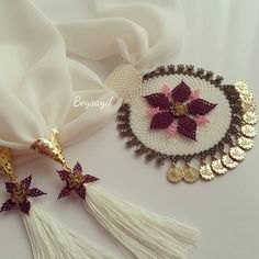 This Pin was discovered by Sof Lace Jewelry, Scarf Jewelry, Hand Embroidery Dress, Embroidery Patterns, Diy Tassel, Designs For Dresses, Point Lace, Festival Decorations, Baby Knitting Patterns