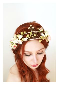 Wedding crown, hair adornment, bridal headpiece, blush flower crown, ivory floral headband, tiara, hair accessories by Gardens of Whimsy by gardensofwhimsy on Etsy https://www.etsy.com/listing/269959018/wedding-crown-hair-adornment-bridal
