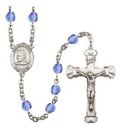 St. John Bosco Silver-Plated Rosary with 6mm Saphire Fire Polished beads