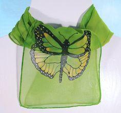 Monarch Butterfly Silk Scarf Handpainted silk by SirenSilkScarves, $30.00
