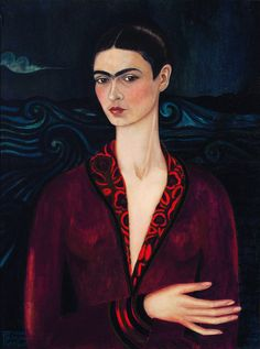 Frida Kahlo, Self-portrait in a Velvet Dress, oil on canvas, private collection, Mexico Diego Rivera, Fridah Kahlo, Oil On Canvas, Canvas Art, Self Portrait Art, Fabric Art, Mexico City, Art History, Romans