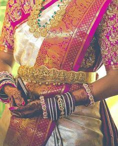 Amazing wedding kanjeevaram saree White and pink combination pattu saree with gold zari