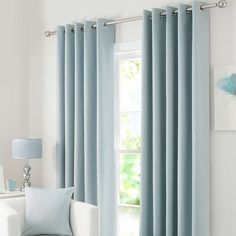 Solar Duck Egg Blackout Eyelet Curtains Featuring a duck egg blue tone with an eyelet header for ease of installation and a smooth motion these ready made curtains are fully lined with blackout prope The post Solar Duck Egg Blackout Eyelet Curtains appea Duck Egg Blue Curtains, Teal Curtains, Blue Curtains Living Room, Duck Egg Blue Bedding, Light Blue Curtains, Tassel Curtains, Vintage Curtains, Ready Made Eyelet Curtains, Home Decor